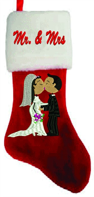 Personalized Bride & Groom Christmas Stocking-BRIDE GROOM CHRISTMAS STOCKING WEDDING STOCKING CHRISTMAS STOCKINGS. PERSONALIZE STOCKINGS