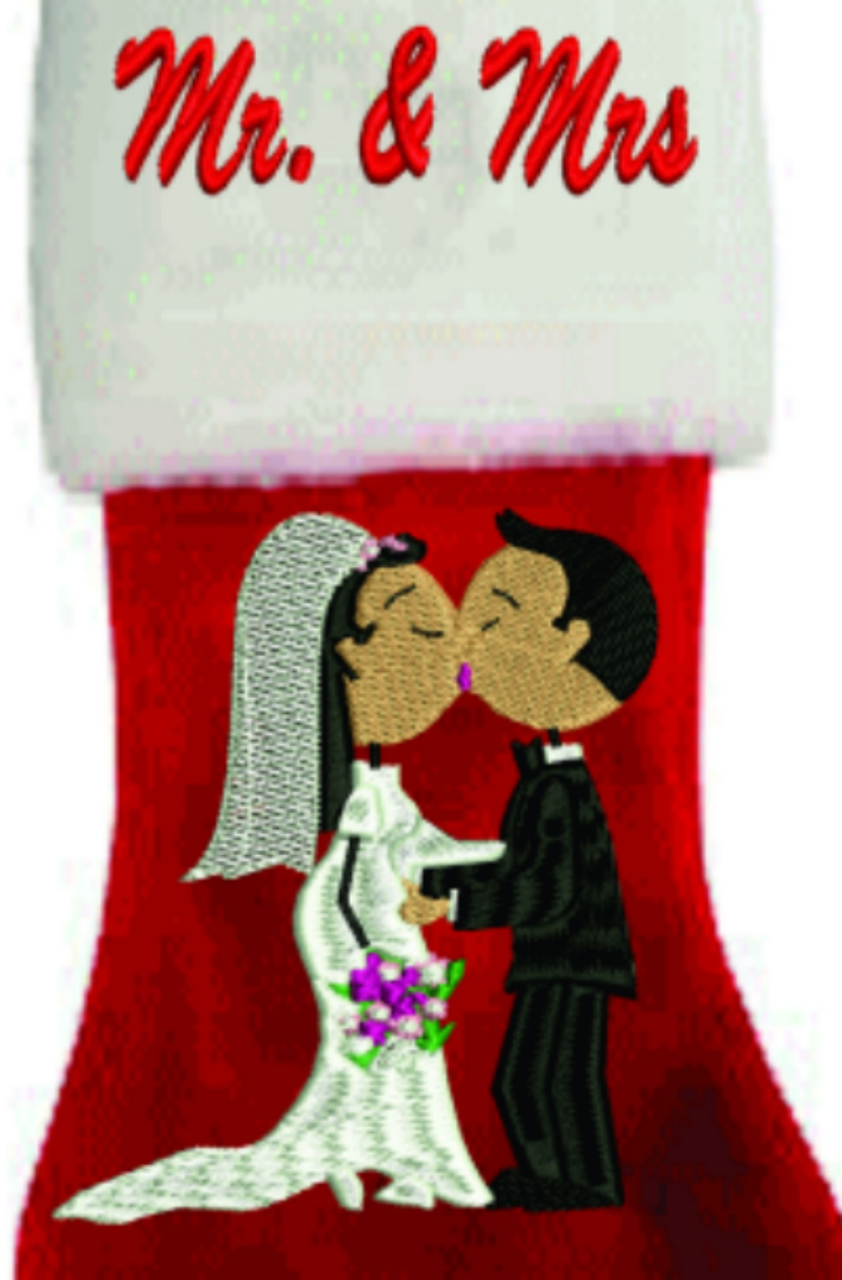 BRIDE & GROOM PERSONALIZED CHRISTMAS STOCKING