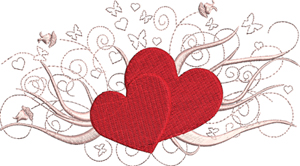 Butterflies and hearts-Butterflies, hearts, Valentines Day, Love, Valentine, machine embroidery