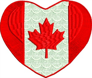 Canada flag in heart-Canada canadas flag machine embroidery embroidery canada heart flag