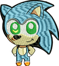 Chibi Sonic-Chib,i sonic, bloom, Japanese dolls, embroidery, machine embroidery