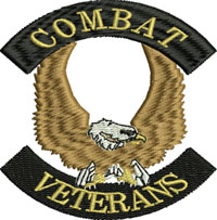 Combat Veterans-Combat veterans, veterans embroidery, combat embroidery, machine embroidery