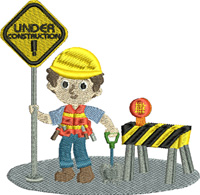 Construction Worker-Construction Worker embroidery, machine embroidery, Construction embroidery, occupational embroidery