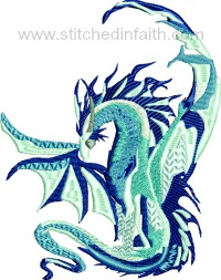 Blue Dragon-Dragon, blue dragon, machine embroidery, dragon embroidery, stitchedinfaith.com, embroidery, dragons