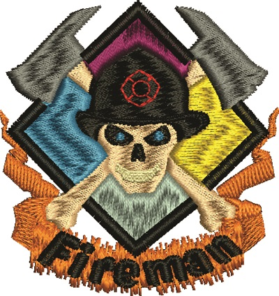 Fireman Hat Machine Embroidery Log