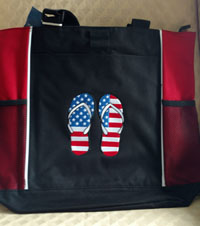Embroidered American Flag flip flops bag-Flip flops tote, tote bags, American Flag tote, embroidered totes, monogram totes, embroidered bags, 2 panel tote, stitchedinfaith.com