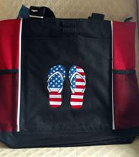 Embroidered American Flag flip flops bag