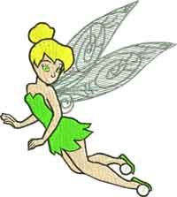 Flying Tinkerbell-Tinkerbell, tink, machine embroidery, peter pan,