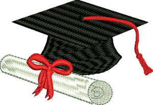 Graduation Cap And Diploma-MACHINE EMBROIDER,Y GRADUATION, CAP AND DIPLOMA ,EMBROIDERY,SCHOOL, GRADUATION