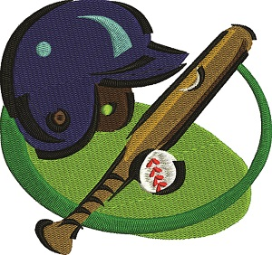 Baseball Helmet, field, bat, and ball
