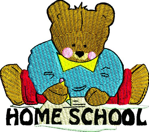 Home School Bear Machne Embroidery Design