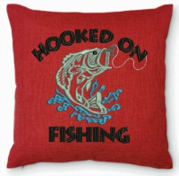 Hooked on Fishing Embroidered Pillow