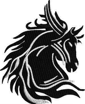 Black and White Stallion horse bust head