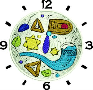 Jewish Clock-Jewish Jewish clock embroidery machine embroidery religion