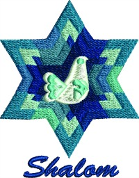 Jewish Star Shalom-Shalom Jewish star mantle machine embroidery embroidery Jewish Religion