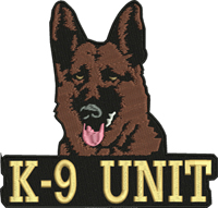 K 9 Unit-K 9, K 9 Unit, Dog, machine embroidery, Police dog, German shepherd, animal embroidery