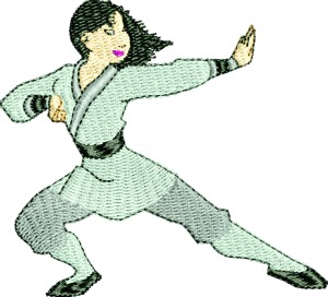Martial Arts Karate Lady Kick Black Bet-karate Martial Arts female karate machine embroidery black belt