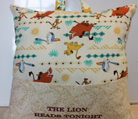 Reading Lion King  pocket pillow-pocket pillow, lion king pillows, embroidered pillows, pillows, reading