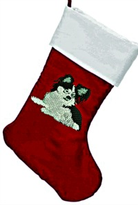 Long Hair chihuahua dog Personalized Christmas stocking-chihuahua dog christmas stockings stockings embroidered dog stocking stitchedinfaith.com