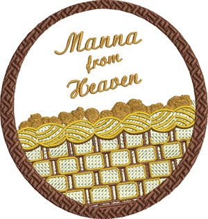 Manna from heaven-Manna, Heaven, Christian, Judaism,Moses, machine embroidery