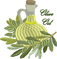 Olive Oil-Olive Oil, machine embroidery, kitchen embroidery, embroidery, stitchedinfaith.com