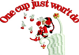 One cup coffee-Elf coffee christmas christmas embroidery design Christmas elfmachine embroidery stitchedinfaith.com