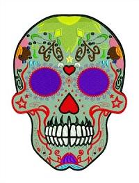 Paisley Skull-Paisley Skull machine embroidery skull embroidery stitchedinfaith.com