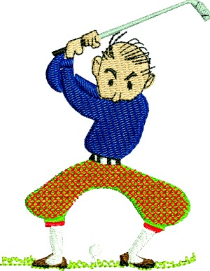 Golfer Male Golfer Plain Pants On The Golf Course Machine Embroidery Design