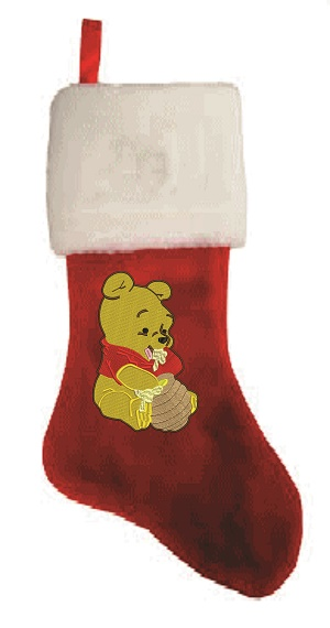 Pooh Personalize  Plush Christmas Stocking-PERSONALIZE CHRISTMAS STOCKING POOH STOCKING PLUSH EMBROIDERED STOCKING. EMBROIDERY CHRISTMAS
