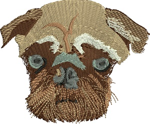 Pug Bull Dog-Pug dog bull dog machine embroidery