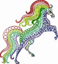 Rainbow Horse-Horse machine embroidery rainbow horse animals farm animals