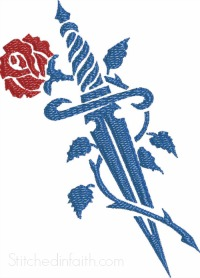 Tattoo Rose and Dagger-Tattoo embroidery, Rose embroidery, Dagger embroidery, steam punk, embroidery, machine embroidery