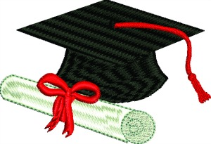 Graduation Cap And Diploma-MACHINE EMBROIDERY GRADUATION CAP AND DIPLOMA EMBROIDERY GRADUATION