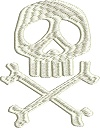 Skull & Cross Bones-Skull and cross bones machine embroidery scary skulls