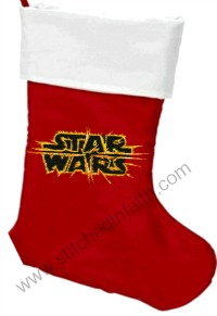 Star Wars on Fire Embroidered Christmas Stocking-Christmas Stockings Starwars stocking Christmas Christmas starwars stitchedinfaith.com