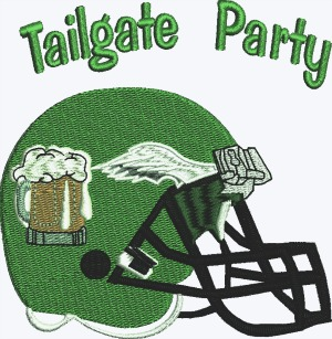 Football Tailgate Eagles Beer Party Machine Embroidery Pattern