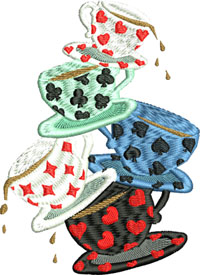 Tea Cups-Alice Tea Cups, stacking tea cups, Alice in wonderland, machine embroidery, embroidery designs, Alice embroidery