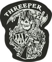 Threeper-Threeper, Reeper, machine embroidery, horror embroidery, bikers embroidery, scary embaroidery