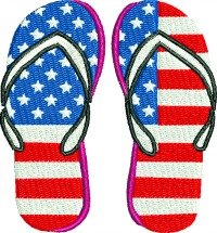 American flag flip flops-flip flops sandles machine embroidery stitchedinfaith.com American flag summer summer embroidery holiday embroidery 4th of July Memorial Day Labor Day
