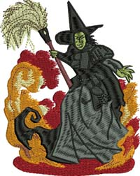 Wicked Witch-Wicked witch, wizard of oz, machine embroidery, Wicket witch embroidery, Oz,